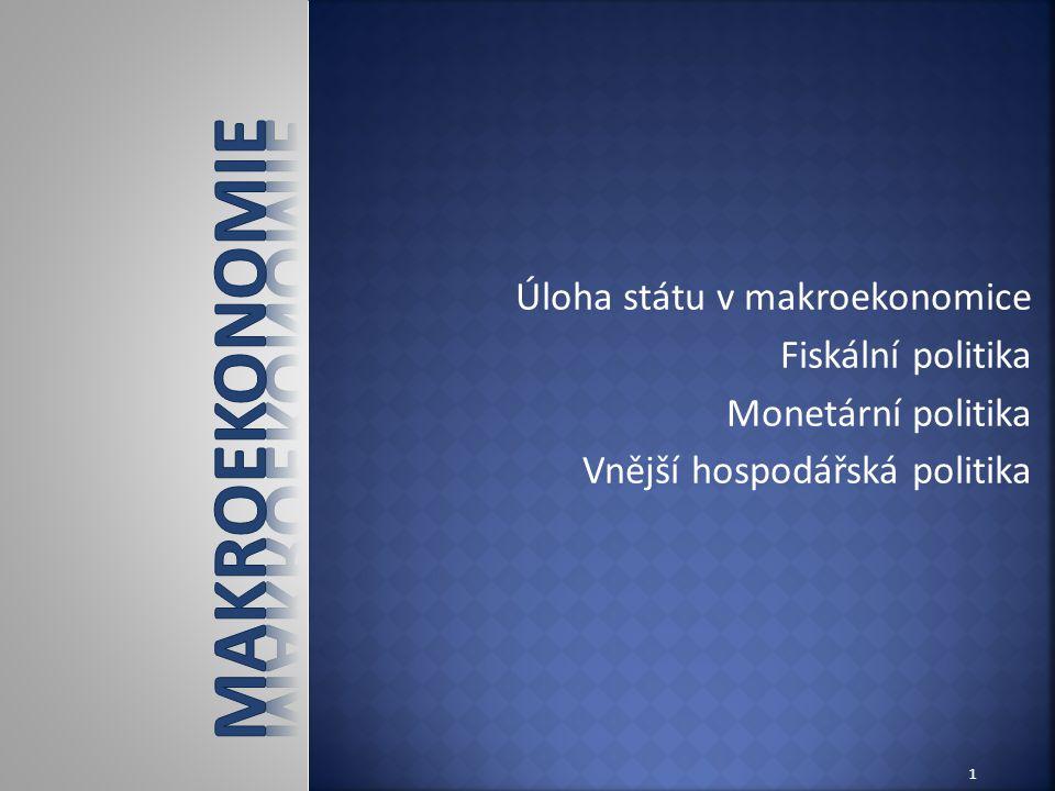 Úloha státu v makroekonomice Fiskální politika Monetární politika Vnější hospodářská politika 1