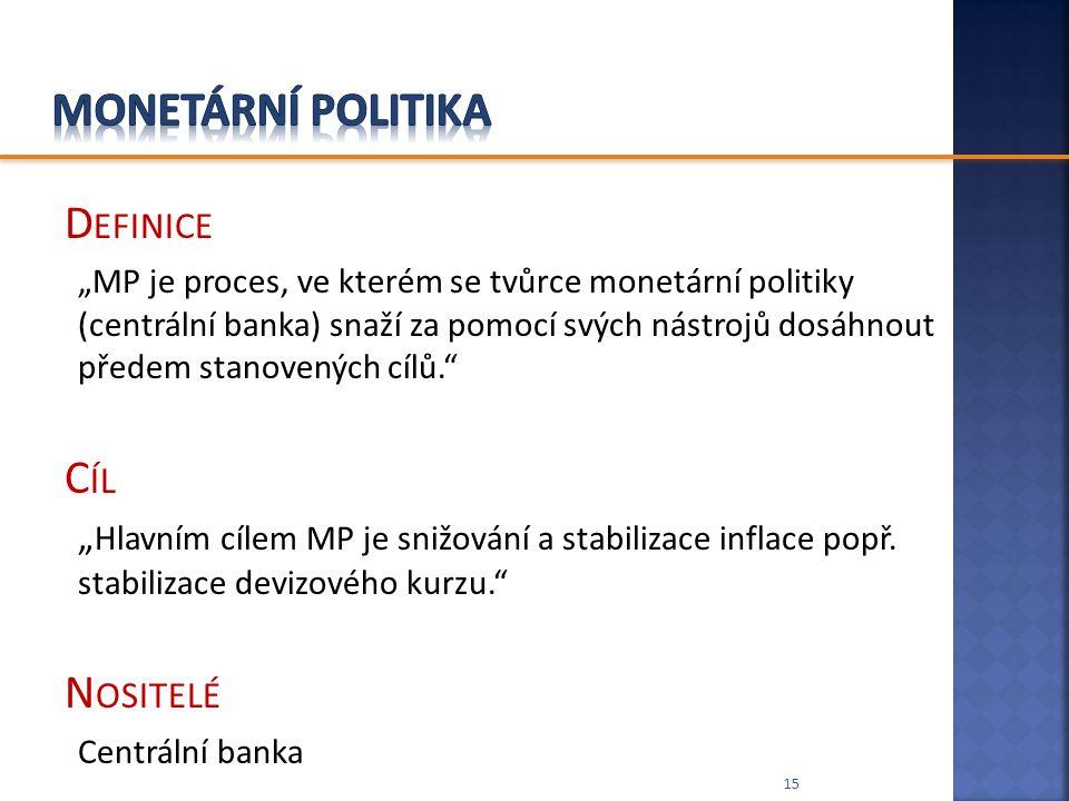 """D EFINICE """"MP je proces, ve kterém se tvůrce monetární politiky (centrální banka) snaží za pomocí svých nástrojů dosáhnout předem stanovených cílů."""" C"""