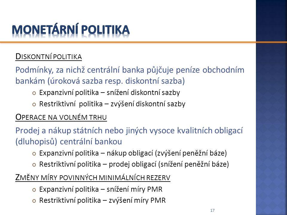 D ISKONTNÍ POLITIKA Podmínky, za nichž centrální banka půjčuje peníze obchodním bankám (úroková sazba resp. diskontní sazba) Expanzivní politika – sní