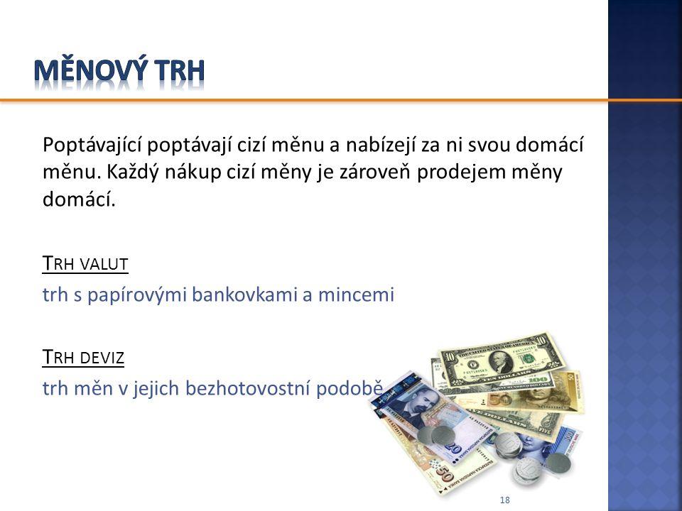 Poptávající poptávají cizí měnu a nabízejí za ni svou domácí měnu. Každý nákup cizí měny je zároveň prodejem měny domácí. T RH VALUT trh s papírovými