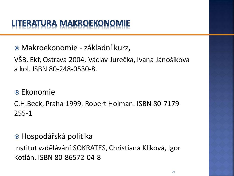  Makroekonomie - základní kurz, VŠB, Ekf, Ostrava 2004. Václav Jurečka, Ivana Jánošíková a kol. ISBN 80-248-0530-8.  Ekonomie C.H.Beck, Praha 1999.