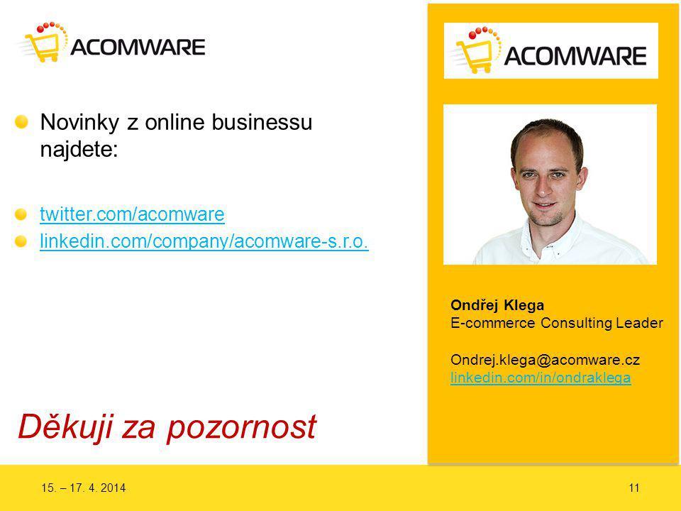 Děkuji za pozornost Novinky z online businessu najdete: twitter.com/acomware linkedin.com/company/acomware-s.r.o.