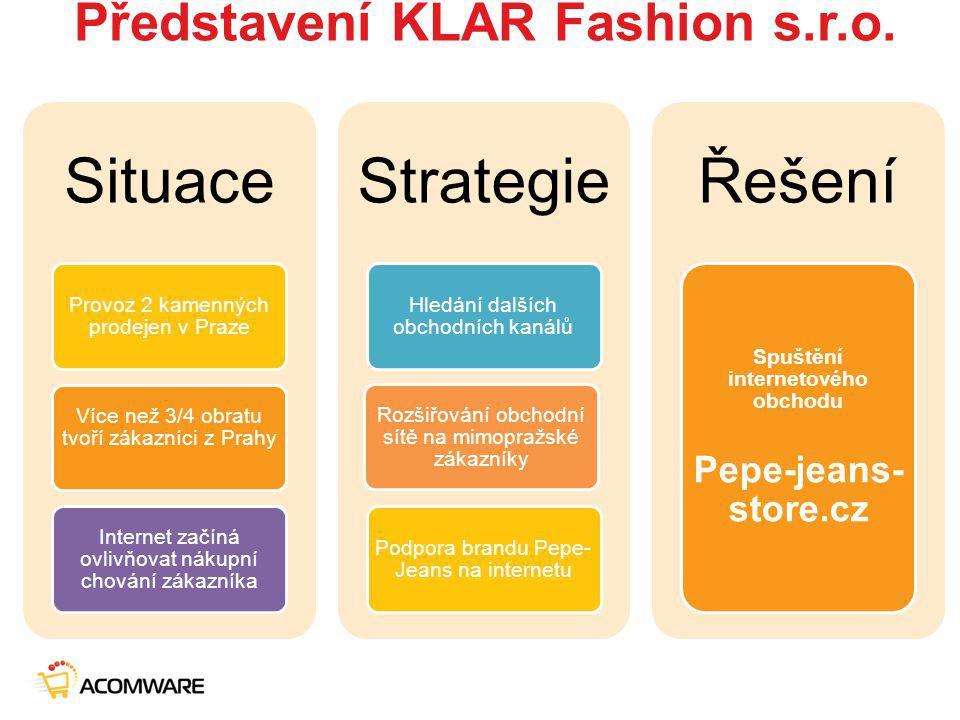 Představení KLAR Fashion s.r.o. Situace Provoz 2 kamenných prodejen v Praze Více než 3/4 obratu tvoří zákazníci z Prahy Internet začíná ovlivňovat nák