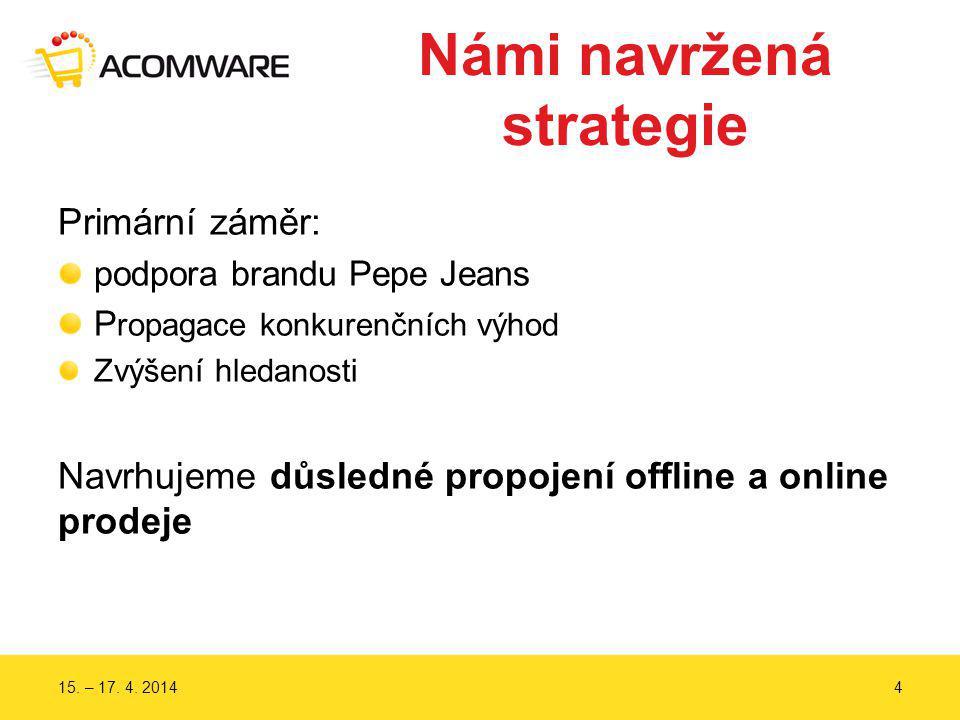 Námi navržená strategie Primární záměr: podpora brandu Pepe Jeans P ropagace konkurenčních výhod Zvýšení hledanosti Navrhujeme důsledné propojení offl