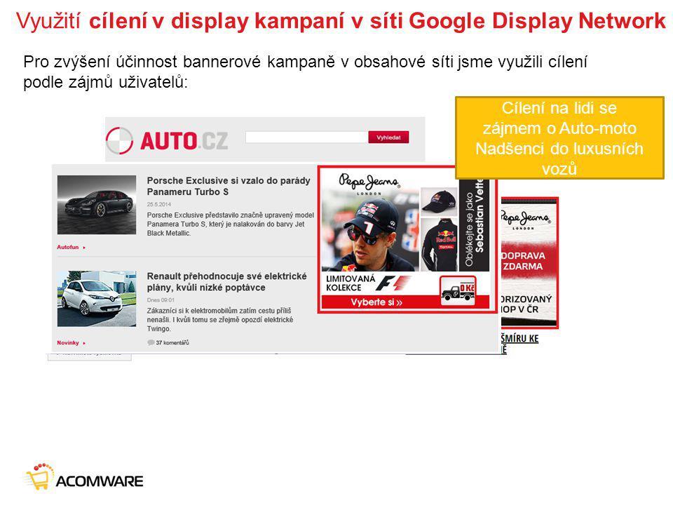 Využití cílení v display kampaní v síti Google Display Network Pro zvýšení účinnost bannerové kampaně v obsahové síti jsme využili cílení podle zájmů uživatelů: Cílení na lidi se zájmem o módu Cílení na lidi se zájmem o Auto-moto Nadšenci do luxusních vozů