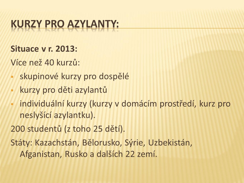 Situace v r. 2013: Více než 40 kurzů:  skupinové kurzy pro dospělé  kurzy pro děti azylantů  individuální kurzy (kurzy v domácím prostředí, kurz pr