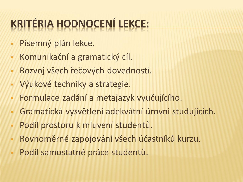  Písemný plán lekce.  Komunikační a gramatický cíl.  Rozvoj všech řečových dovedností.  Výukové techniky a strategie.  Formulace zadání a metajaz