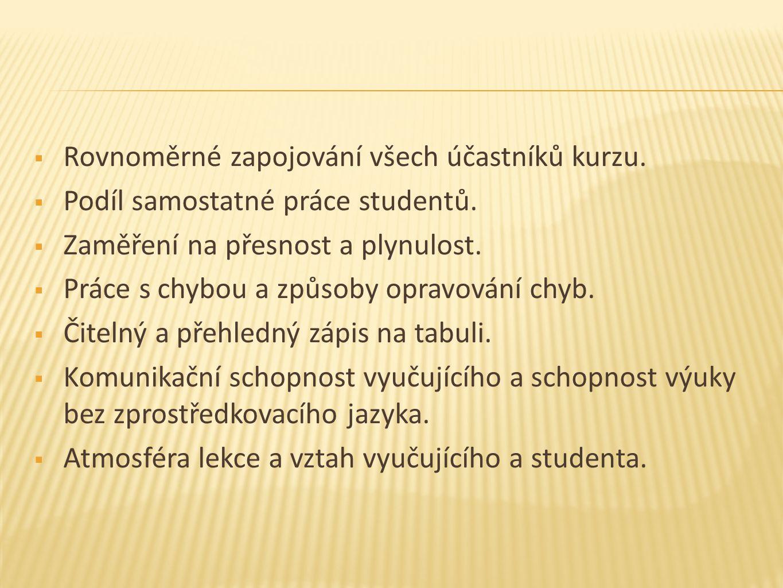  Rovnoměrné zapojování všech účastníků kurzu.  Podíl samostatné práce studentů.  Zaměření na přesnost a plynulost.  Práce s chybou a způsoby oprav