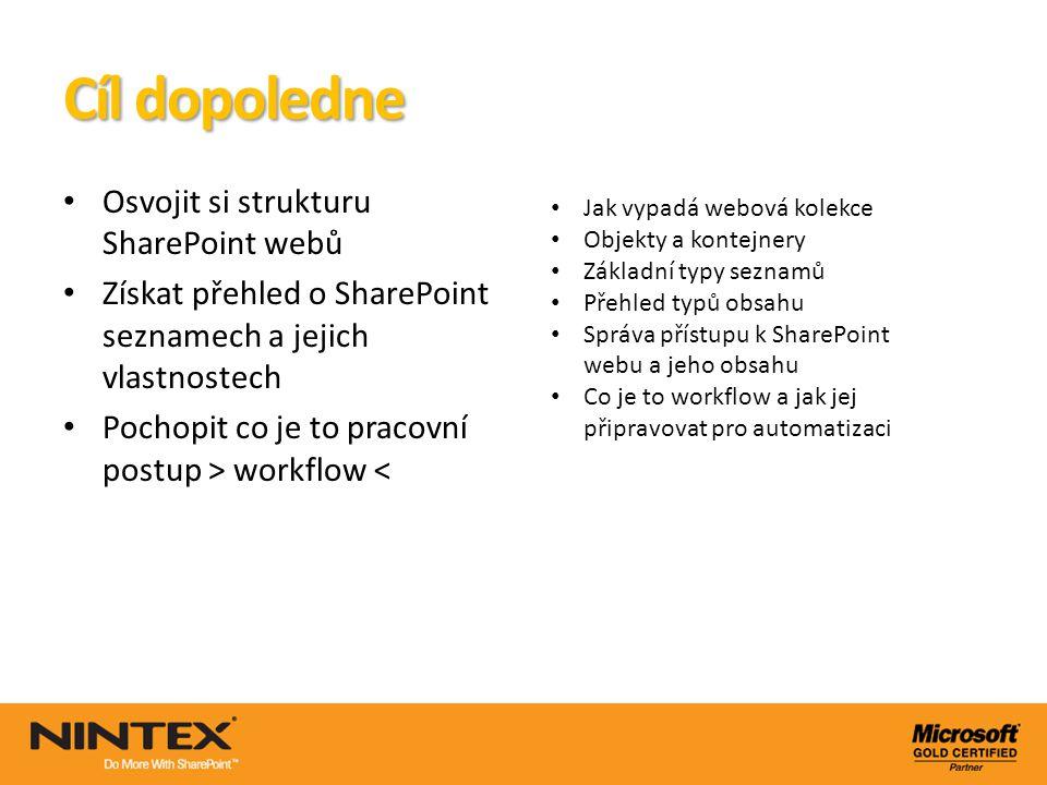 Cíl dopoledne Osvojit si strukturu SharePoint webů Získat přehled o SharePoint seznamech a jejich vlastnostech Pochopit co je to pracovní postup > wor