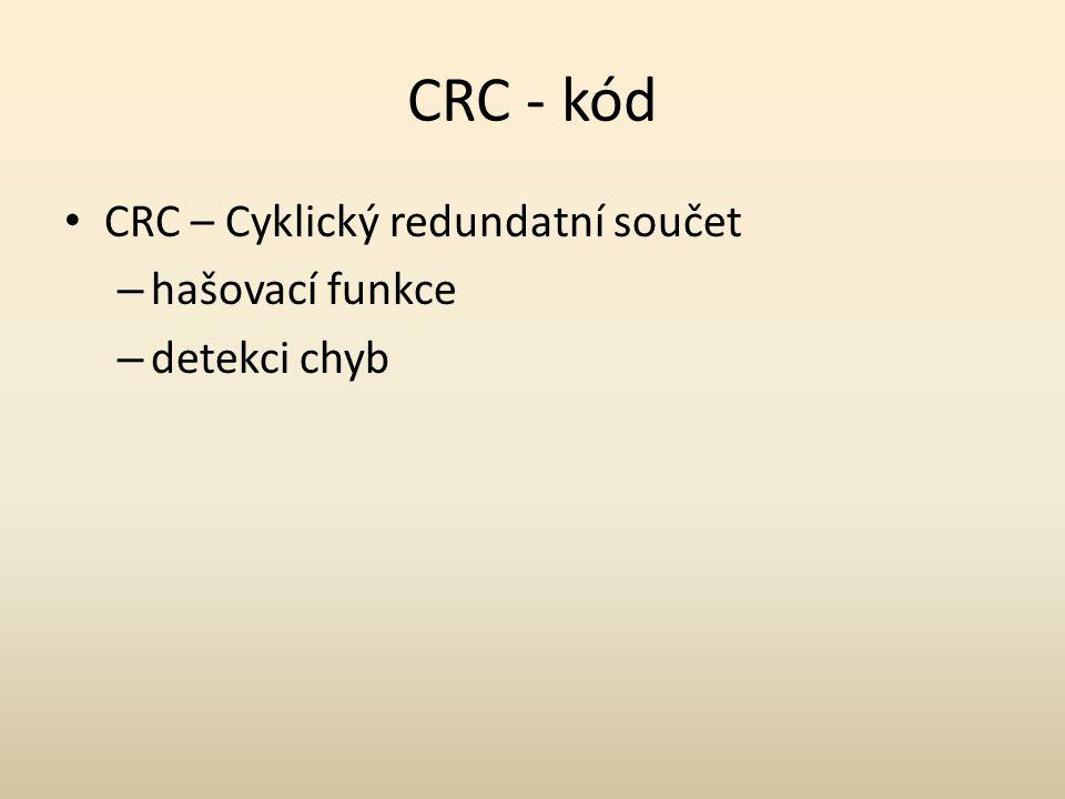 CRC - kód CRC – Cyklický redundatní součet – hašovací funkce – detekci chyb