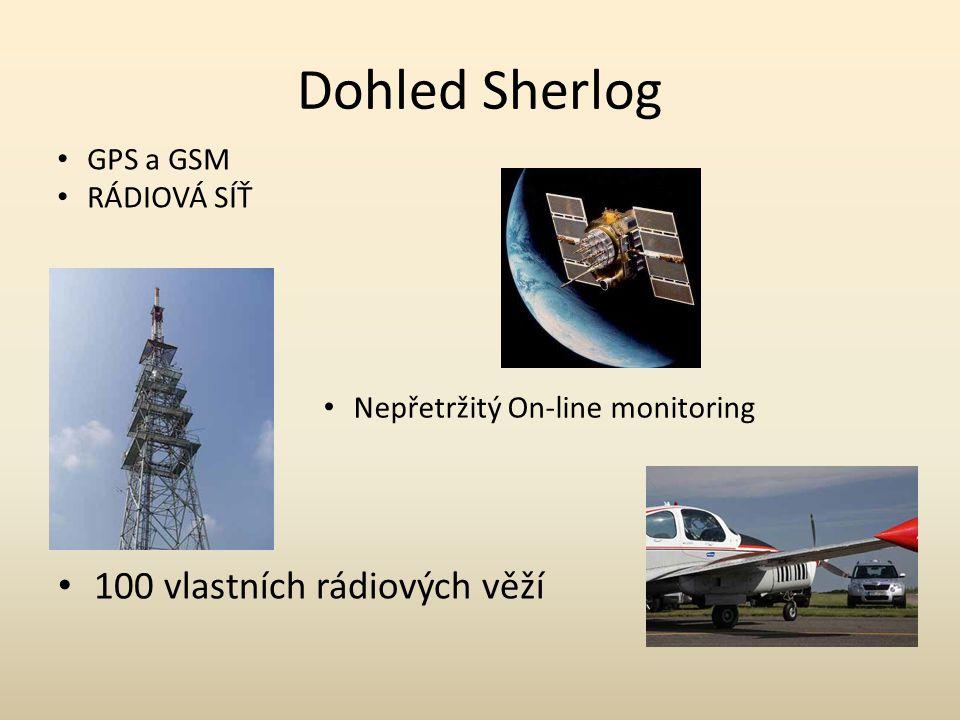 Dohled Sherlog 100 vlastních rádiových věží GPS a GSM RÁDIOVÁ SÍŤ Nepřetržitý On-line monitoring