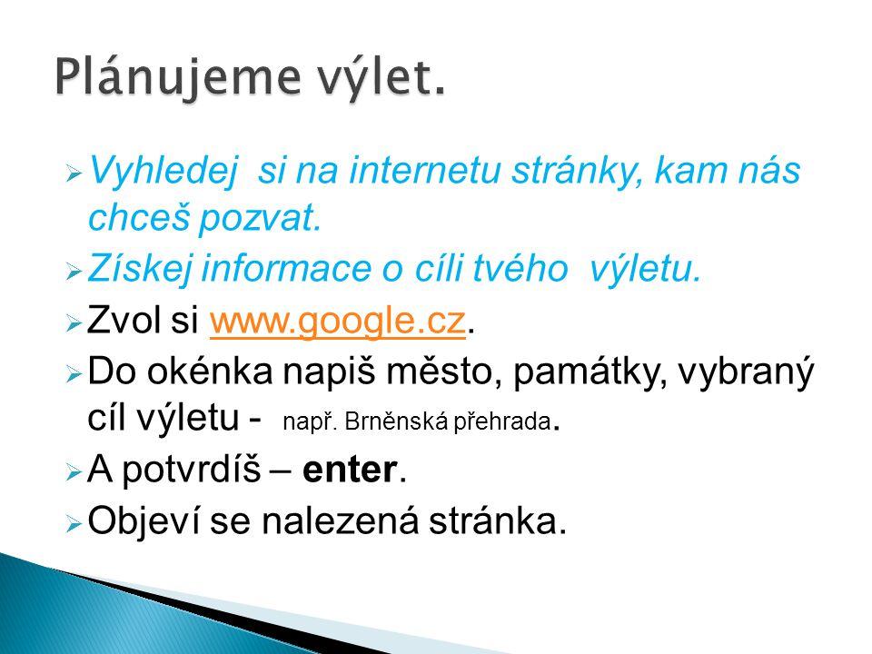  Vyhledej si na internetu stránky, kam nás chceš pozvat.  Získej informace o cíli tvého výletu.  Zvol si www.google.cz.www.google.cz  Do okénka na