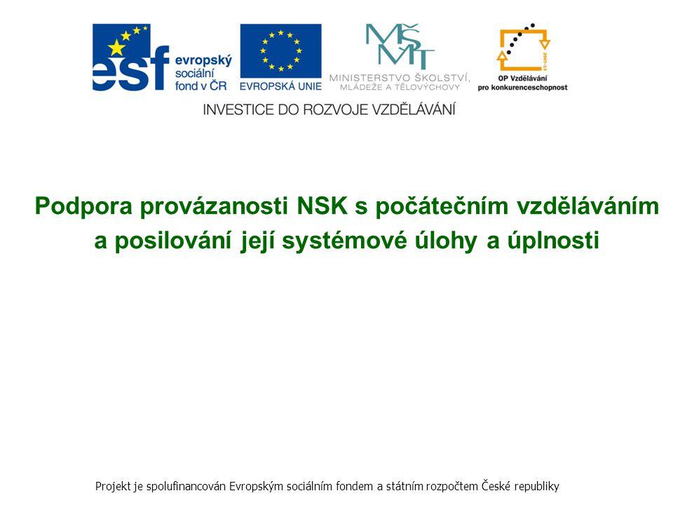 Podpora provázanosti NSK s počátečním vzděláváním a posilování její systémové úlohy a úplnosti Projekt je spolufinancován Evropským sociálním fondem a
