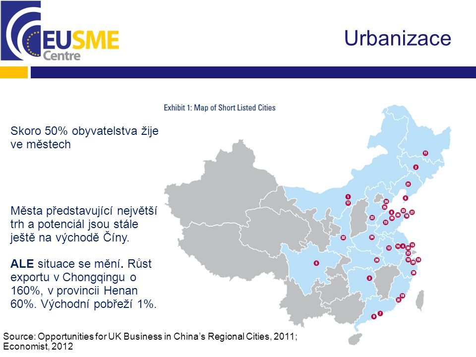 Urbanizace Source: Opportunities for UK Business in China's Regional Cities, 2011; Economist, 2012 Skoro 50% obyvatelstva žije ve městech Města představující největší trh a potenciál jsou stále ještě na východě Číny.
