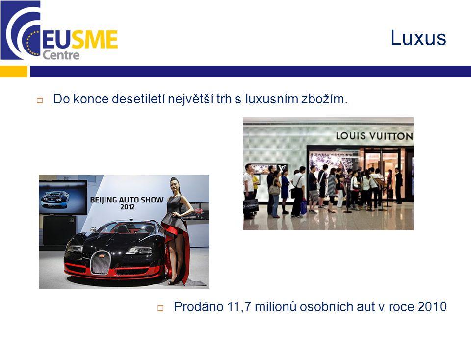 Luxus  Do konce desetiletí největší trh s luxusním zbožím.