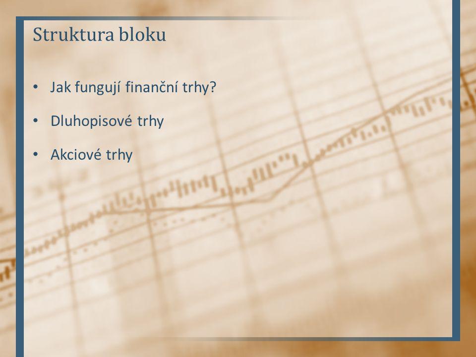 Struktura bloku Jak fungují finanční trhy Dluhopisové trhy Akciové trhy