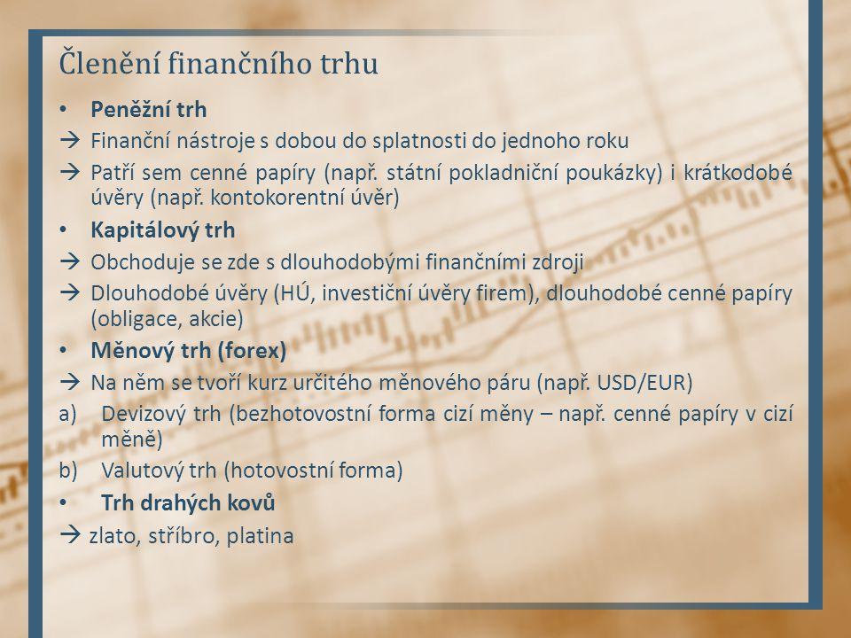 Trh cenných papírů Trh lze rozdělit na: a)Primární  Obchoduje se zde s cennými papíry poprvé, CP zde nachází prvního kupce (tzv.
