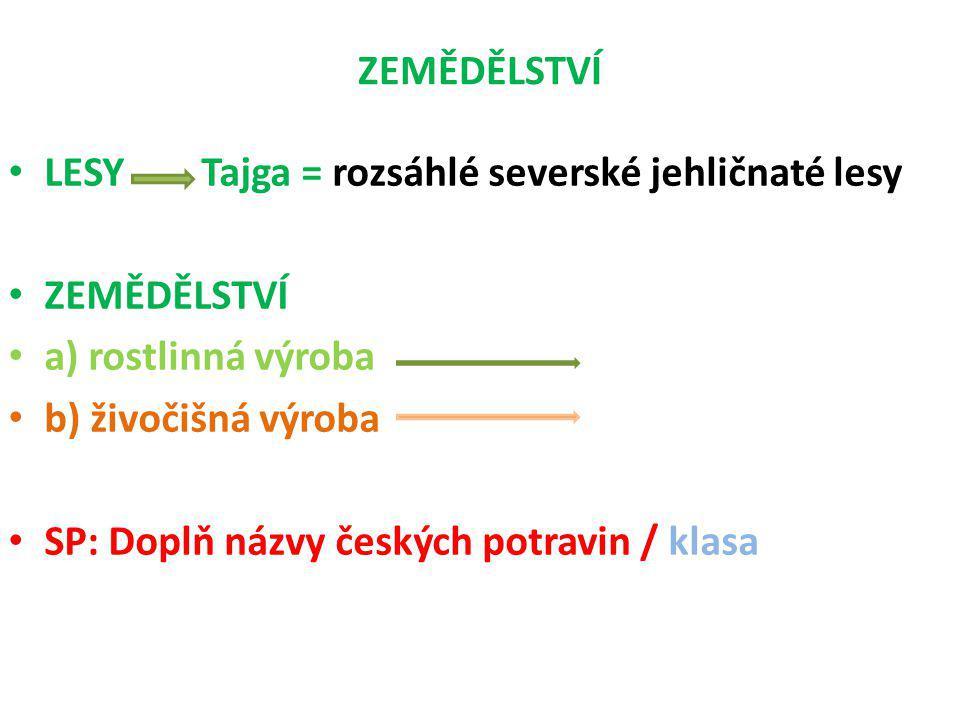 ZEMĚDĚLSTVÍ LESY Tajga = rozsáhlé severské jehličnaté lesy ZEMĚDĚLSTVÍ a) rostlinná výroba b) živočišná výroba SP: Doplň názvy českých potravin / klasa