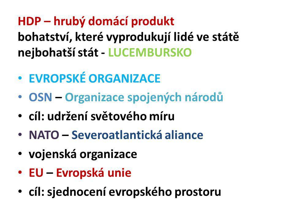 HDP – hrubý domácí produkt bohatství, které vyprodukují lidé ve státě nejbohatší stát - LUCEMBURSKO EVROPSKÉ ORGANIZACE OSN – Organizace spojených národů cíl: udržení světového míru NATO – Severoatlantická aliance vojenská organizace EU – Evropská unie cíl: sjednocení evropského prostoru
