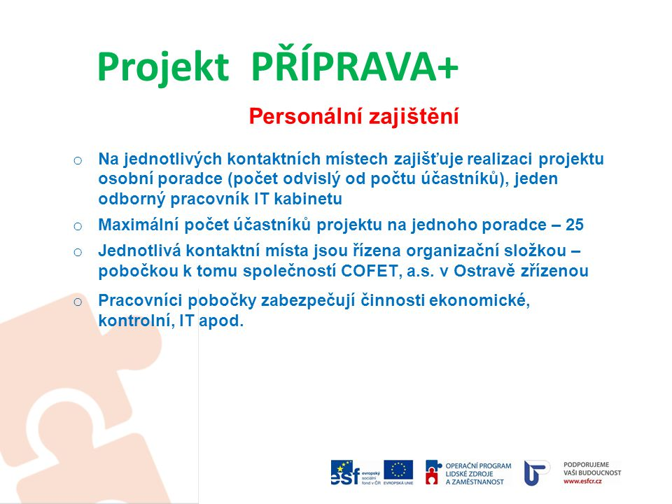 Popis projektu  Hlavním cílem projektu je podrobná diagnostika pracovního potenciálu každého účastníka projektu, zjištění jeho profesních i osobnostních předpokladů z hlediska dalšího pracovního uplatnění  Základním principem projektu je nastavení vhodných navazujících aktivit každému účastníkovi, které povedou k obnovení pracovních i sociálních návyků, k získání potřebných dovedností a vědomostí a tím ke zlepšení možností se znovu uplatnit na trhu práce.