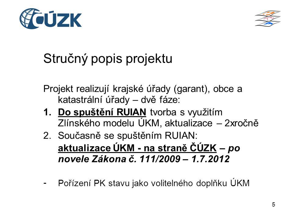 5 Stručný popis projektu Projekt realizují krajské úřady (garant), obce a katastrální úřady – dvě fáze: 1.Do spuštění RUIAN tvorba s využitím Zlínského modelu ÚKM, aktualizace – 2xročně 2.Současně se spuštěním RUIAN: aktualizace ÚKM - na straně ČÚZK – po novele Zákona č.
