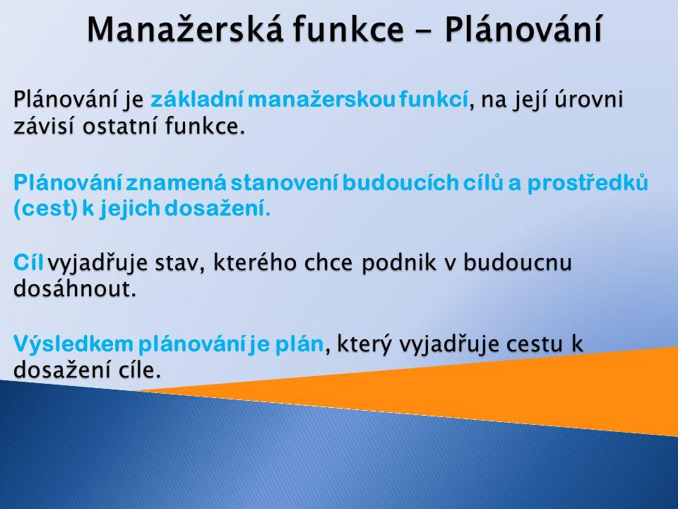 Manažerská funkce - Plánování Plánování je, na její úrovni závisí ostatní funkce.