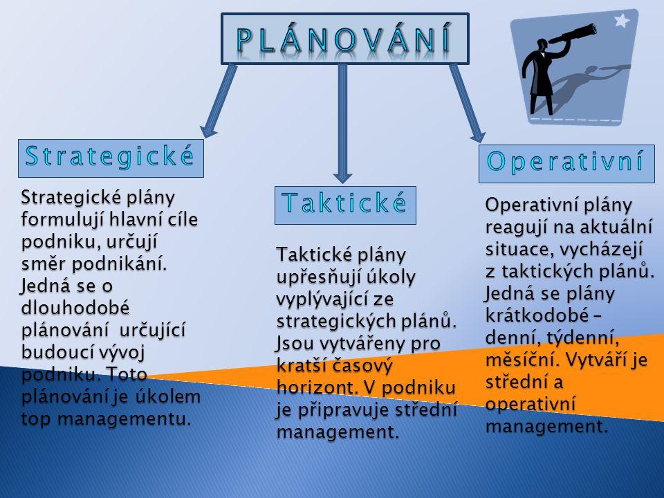 Strategické plány formulují hlavní cíle podniku, určují směr podnikání.