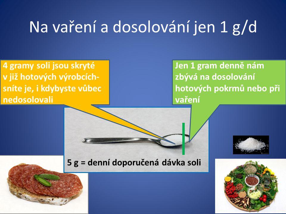 Na vaření a dosolování jen 1 g/d 5 g = denní doporučená dávka soli Jen 1 gram denně nám zbývá na dosolování hotových pokrmů nebo při vaření 4 gramy soli jsou skryté v již hotových výrobcích- sníte je, i kdybyste vůbec nedosolovali