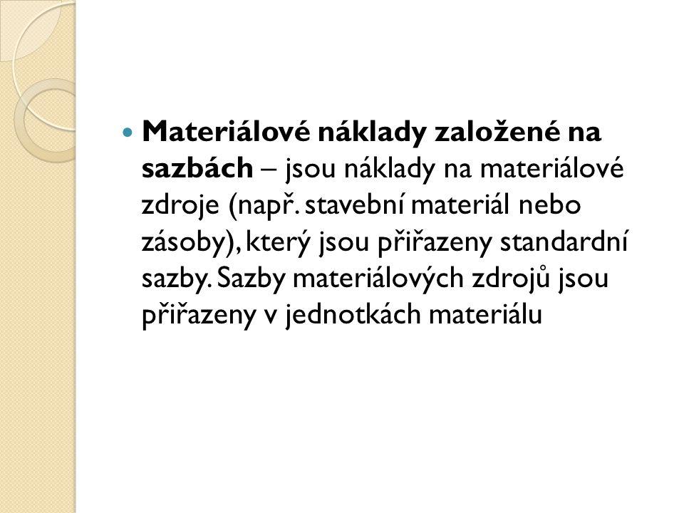 Materiálové náklady založené na sazbách – jsou náklady na materiálové zdroje (např.