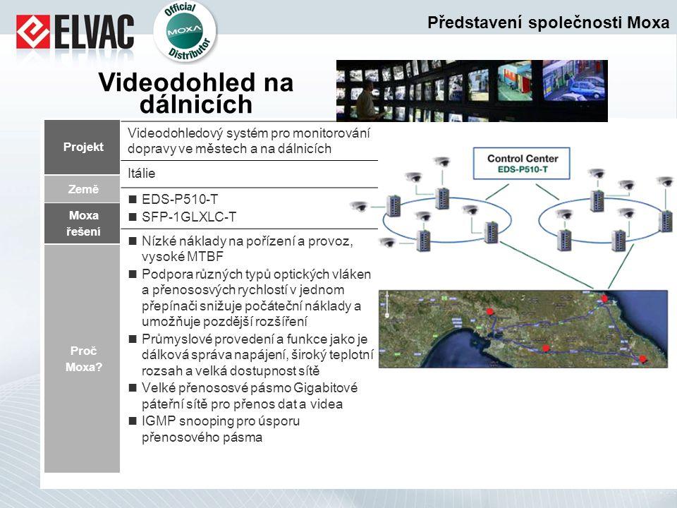 Projekt Moxa řešení Proč Moxa? Videodohled na dálnicích Země Videodohledový systém pro monitorování dopravy ve městech a na dálnicích Itálie EDS-P510-
