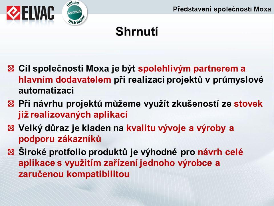 Shrnutí Cíl společnosti Moxa je být spolehlivým partnerem a hlavním dodavatelem při realizaci projektů v průmyslové automatizaci Při návrhu projektů m