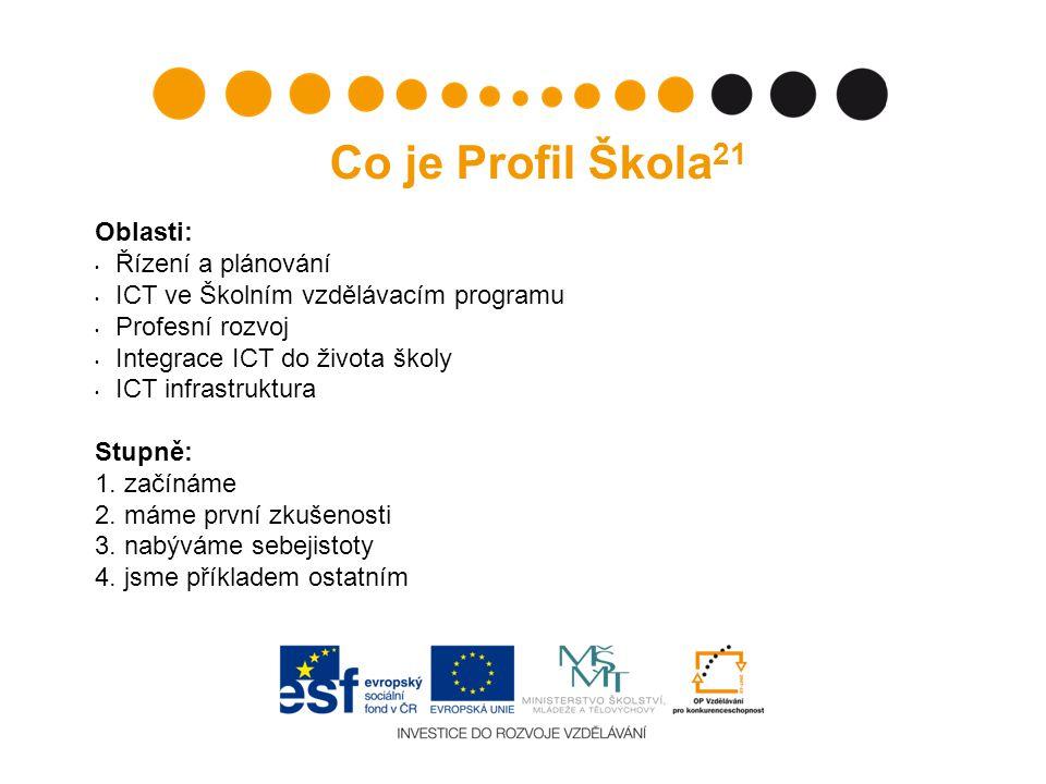Co je Profil Škola 21 Oblasti: Řízení a plánování ICT ve Školním vzdělávacím programu Profesní rozvoj Integrace ICT do života školy ICT infrastruktura Stupně: 1.