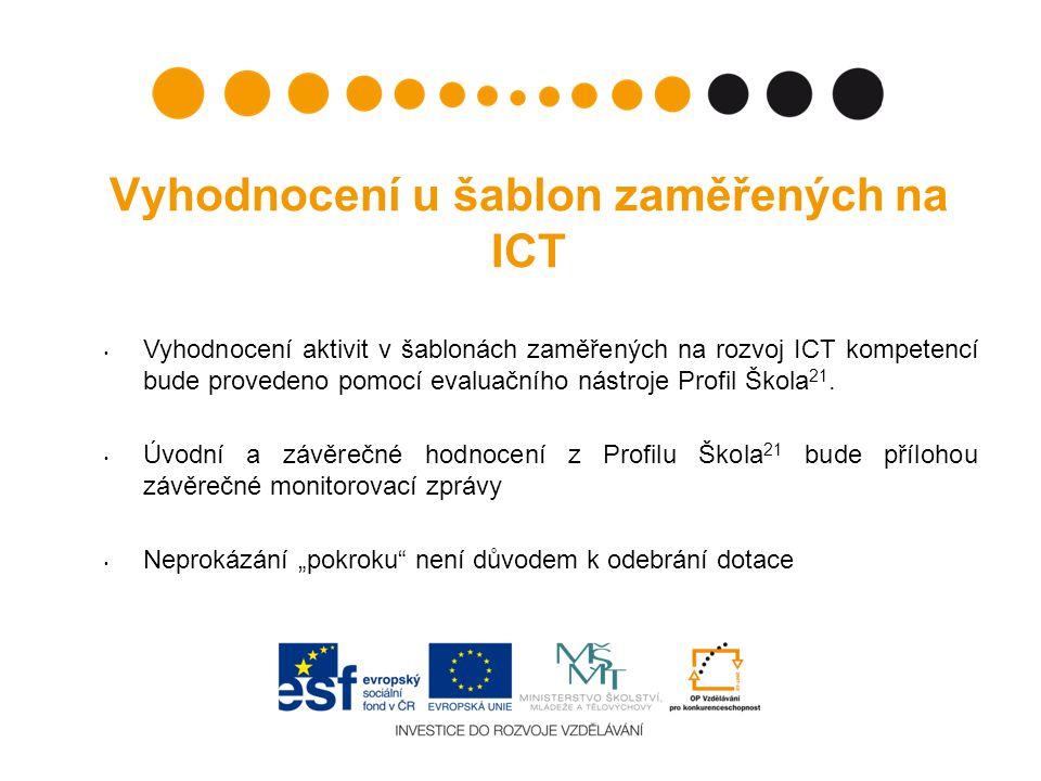 Vyhodnocení u šablon zaměřených na ICT Vyhodnocení aktivit v šablonách zaměřených na rozvoj ICT kompetencí bude provedeno pomocí evaluačního nástroje Profil Škola 21.