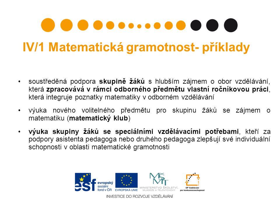 IV/1 Matematická gramotnost- příklady soustředěná podpora skupině žáků s hlubším zájmem o obor vzdělávání, která zpracovává v rámci odborného předmětu vlastní ročníkovou práci, která integruje poznatky matematiky v odborném vzdělávání výuka nového volitelného předmětu pro skupinu žáků se zájmem o matematiku (matematický klub) výuka skupiny žáků se speciálními vzdělávacími potřebami, kteří za podpory asistenta pedagoga nebo druhého pedagoga zlepšují své individuální schopnosti v oblasti matematické gramotnosti