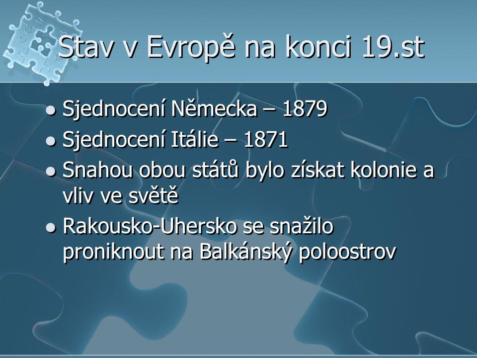 Stav v Evropě na konci 19.st Sjednocení Německa – 1879 Sjednocení Itálie – 1871 Snahou obou států bylo získat kolonie a vliv ve světě Rakousko-Uhersko se snažilo proniknout na Balkánský poloostrov Sjednocení Německa – 1879 Sjednocení Itálie – 1871 Snahou obou států bylo získat kolonie a vliv ve světě Rakousko-Uhersko se snažilo proniknout na Balkánský poloostrov