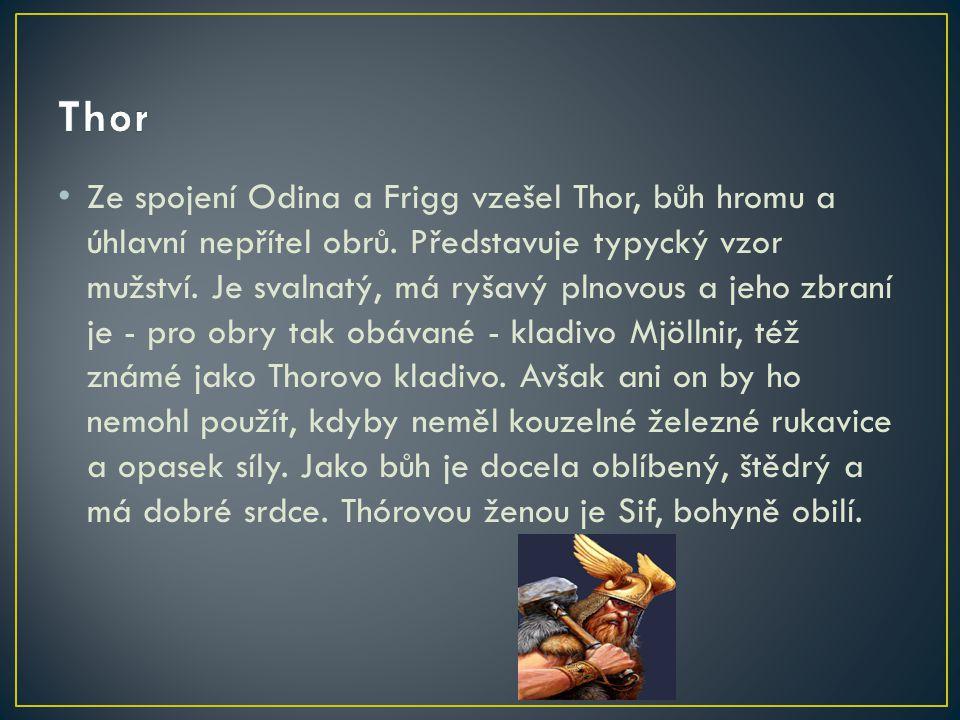 Ze spojení Odina a Frigg vzešel Thor, bůh hromu a úhlavní nepřítel obrů. Představuje typycký vzor mužství. Je svalnatý, má ryšavý plnovous a jeho zbra