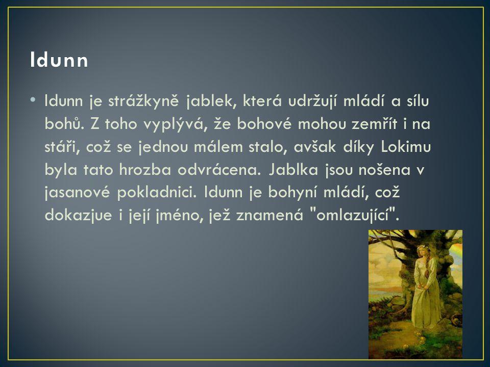 Idunn je strážkyně jablek, která udržují mládí a sílu bohů. Z toho vyplývá, že bohové mohou zemřít i na stáři, což se jednou málem stalo, avšak díky L