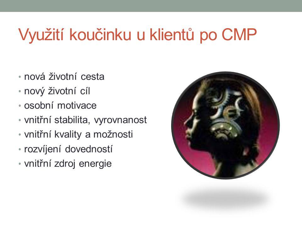 Využití koučinku u klientů po CMP nová životní cesta nový životní cíl osobní motivace vnitřní stabilita, vyrovnanost vnitřní kvality a možnosti rozvíjení dovedností vnitřní zdroj energie