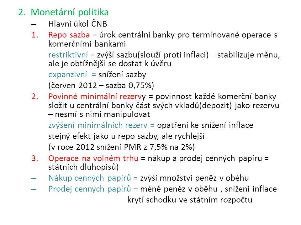 2. Monetární politika – Hlavní úkol ČNB 1.Repo sazba = úrok centrální banky pro termínované operace s komerčními bankami restriktivní = zvýší sazbu(sl