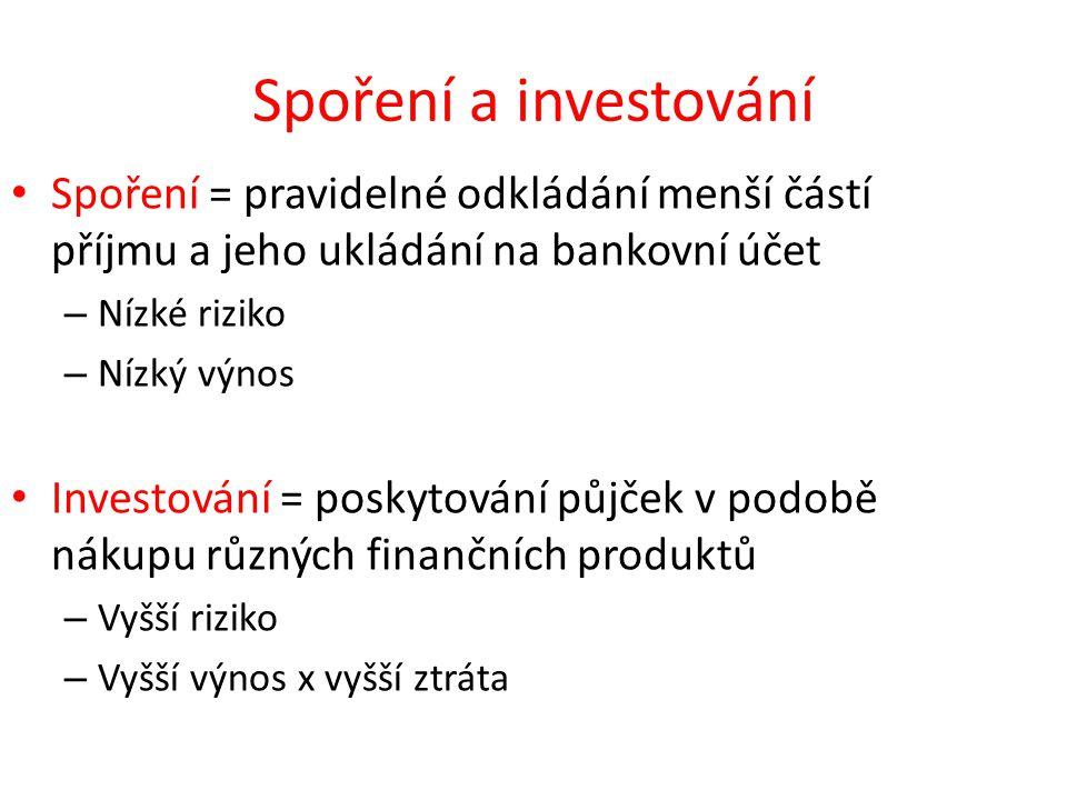 Spoření a investování Spoření = pravidelné odkládání menší částí příjmu a jeho ukládání na bankovní účet – Nízké riziko – Nízký výnos Investování = po