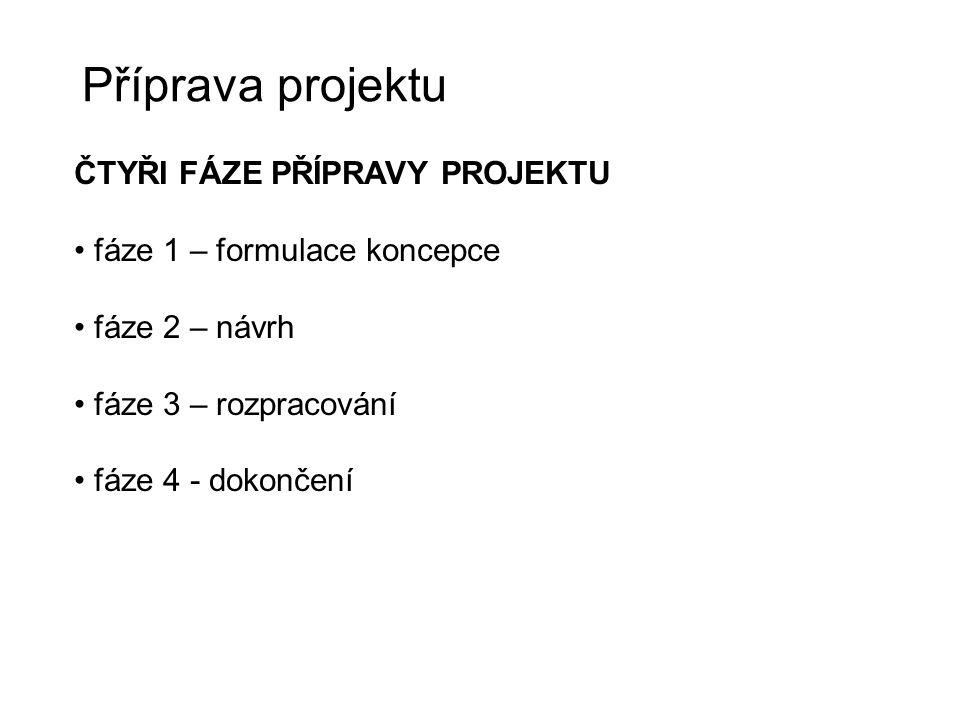 Příprava projektu ČTYŘI FÁZE PŘÍPRAVY PROJEKTU fáze 1 – formulace koncepce fáze 2 – návrh fáze 3 – rozpracování fáze 4 - dokončení