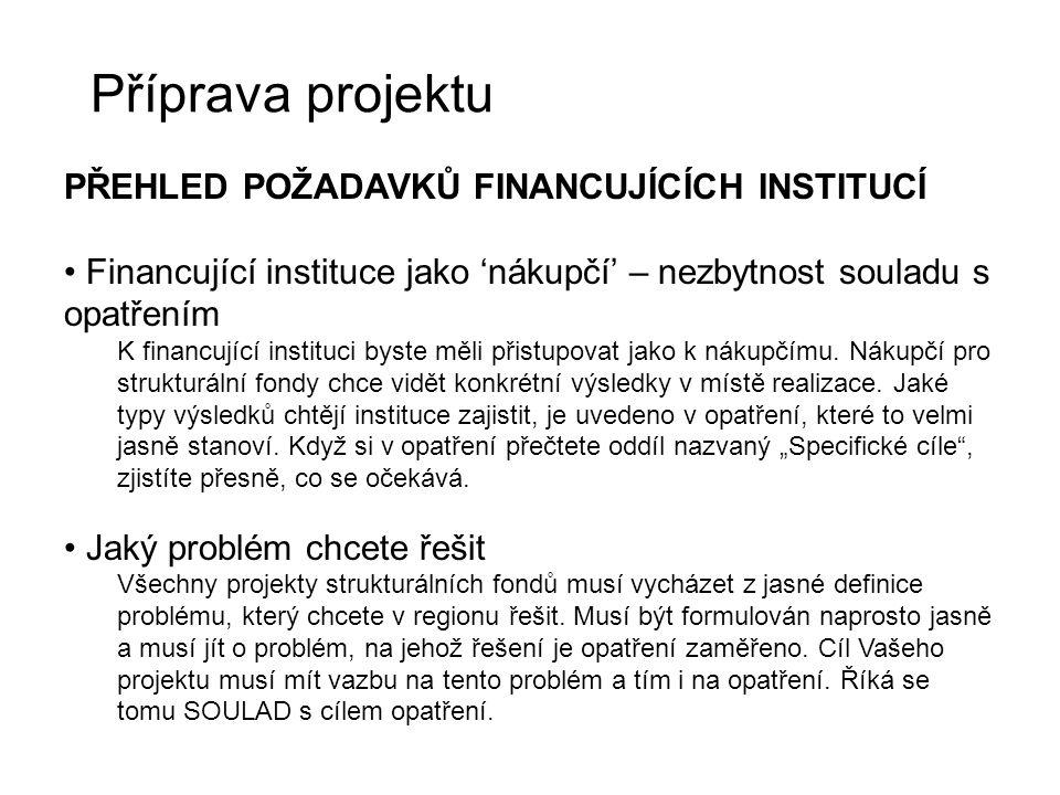 Příprava projektu PŘEHLED POŽADAVKŮ FINANCUJÍCÍCH INSTITUCÍ Financující instituce jako 'nákupčí' – nezbytnost souladu s opatřením K financující instit