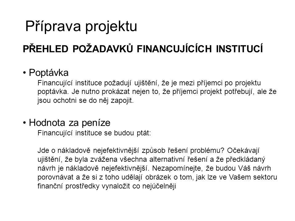Příprava projektu PŘEHLED POŽADAVKŮ FINANCUJÍCÍCH INSTITUCÍ Poptávka Financující instituce požadují ujištění, že je mezi příjemci po projektu poptávka