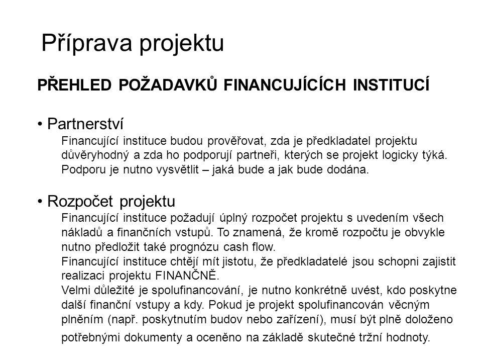 Příprava projektu PŘEHLED POŽADAVKŮ FINANCUJÍCÍCH INSTITUCÍ Partnerství Financující instituce budou prověřovat, zda je předkladatel projektu důvěryhod