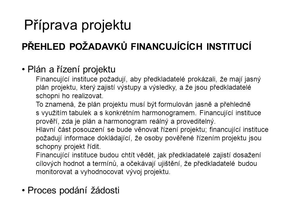 Příprava projektu PŘEHLED POŽADAVKŮ FINANCUJÍCÍCH INSTITUCÍ Plán a řízení projektu Financující instituce požadují, aby předkladatelé prokázali, že maj