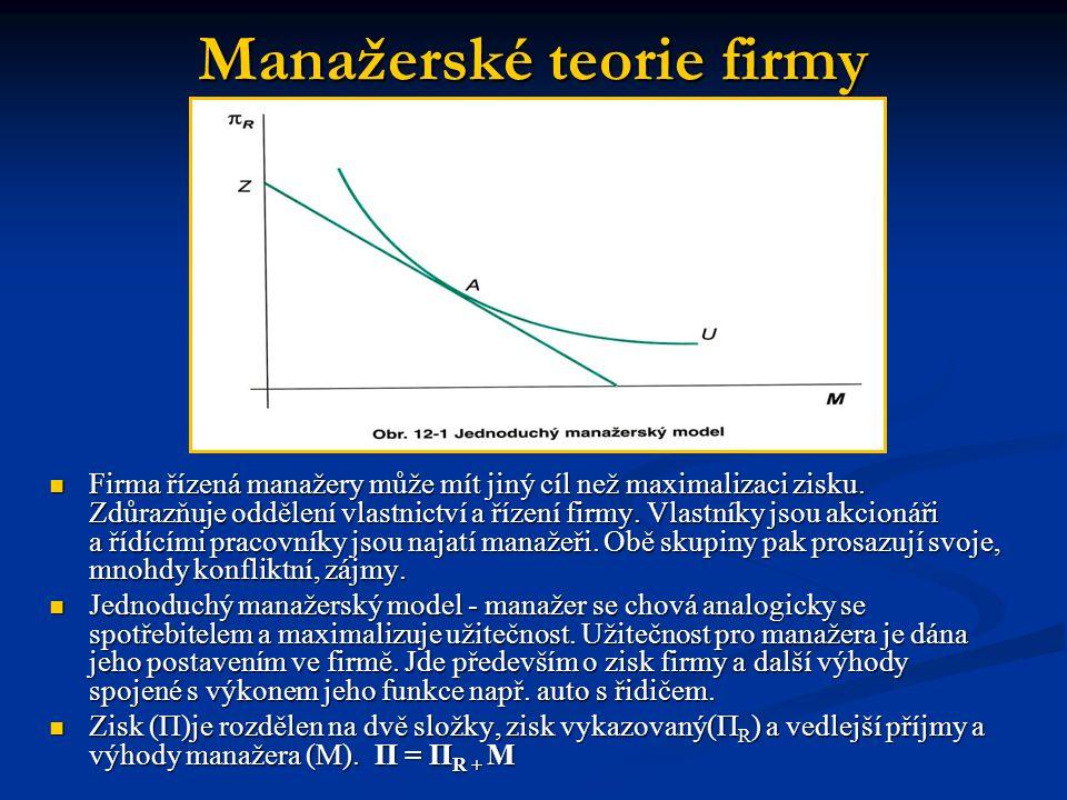 Williamsonův model V tomto modelu je za cíl manažerů považována také maximalizace užitečnosti.