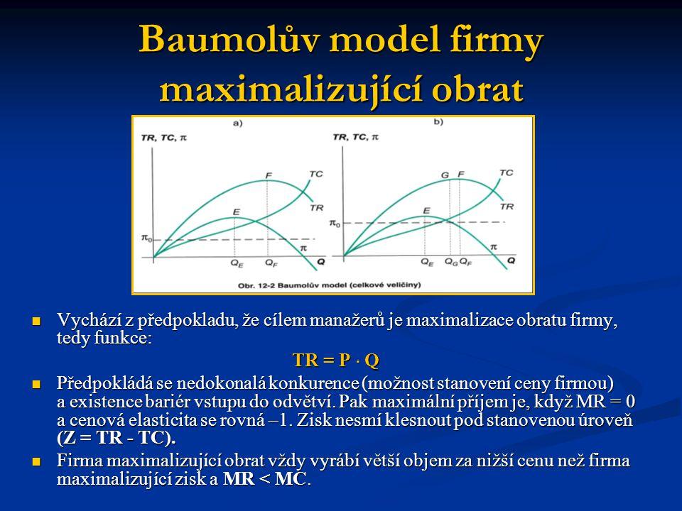 Baumolův model firmy maximalizující obrat Vychází z předpokladu, že cílem manažerů je maximalizace obratu firmy, tedy funkce: Vychází z předpokladu, ž