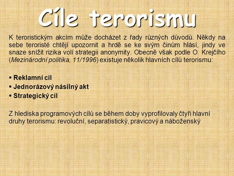 Typy terorismu  mezinárodní terorismus  vnitrostátní terorismus  státní terorismus  subverzivní(podvratný)  sociální terorismus  ekonomický terorismus  extremistický terorismus  ekologický terorismus  náboženský terorismus  kriminální terorismus  narkoterorismus  elektronický terorismus  jaderný terorismus  superterorismus  konvenční terorismus  nekonvenční terorismus