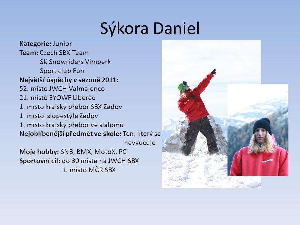 Sýkora Daniel Kategorie: Junior Team: Czech SBX Team SK Snowriders Vimperk Sport club Fun Největší úspěchy v sezoně 2011: 52.