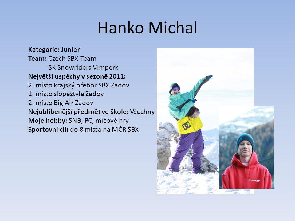 Hanko Michal Kategorie: Junior Team: Czech SBX Team SK Snowriders Vimperk Největší úspěchy v sezoně 2011: 2.